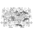 three dolphins against with sacred geometry vector image vector image
