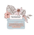 typewriter with loral bloom and inspirational vector image