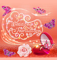 wedding background with butterfly rose and rings vector image