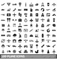 100 plane icons set simple style vector image vector image