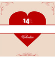 14th Valentine red heart with floral frame vector image vector image