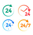 24 hours a day service icons set vector image