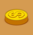 3d cartoon gold coin icon us dollar money vector image vector image
