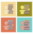 assembly flat icons schoolboy books vector image vector image