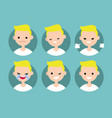 blonde pale man profile pics set of flat vector image vector image