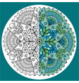 blue-green mandala colored in half vector image