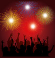 brightly colorful fireworks background vector image vector image