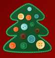 Button Christmas tree vector image