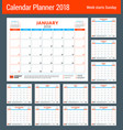 calendar planner for 2018 year design print vector image vector image