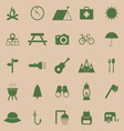 Camping color icons on brown background vector image