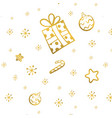 christmas gold seamless pattern with gift stars vector image vector image