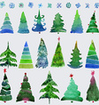 Christmas trees and snowflake set of holidays hand vector image vector image