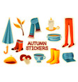 colorful autumn stickers set fall labels vector image