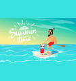 cute happy dog and hipster swimming on surfboard vector image vector image