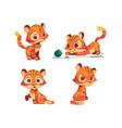cute tiger cartoon character animal cub mascot vector image