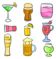 doodle various drink set collection vector image