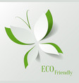 Eco concept - green butterfly cut the paper like vector image vector image