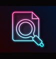 glowing neon line search concept with folder icon vector image vector image