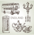 hand drawn sketch england set black and white vector image