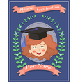 Happy Graduation Girl Blue Greeting Card vector image