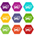insurance car icons set 9 vector image vector image