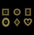 luxury gold glitter frame set vector image