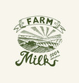 milk label retro meadow or rural vintage logo vector image vector image