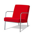 modern red soft armchair with upholstery vector image vector image