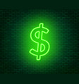 neon dollar sign on a dark background wealth vector image vector image
