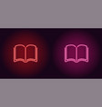 neon icon of red and pink book vector image