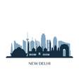 new delhi skyline monochrome silhouette vector image