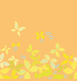 orange pattern with yellow butterflies vector image vector image