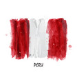 realistic watercolor painting flag of peru vector image vector image