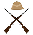 Safari hat and crossed rifles vector image vector image