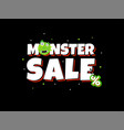 sale card with cute monster promotion typography vector image