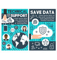 save data technical banners vector image vector image