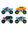 set big monster truck cars pictures set vector image
