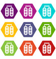 traffic light icons set 9 vector image