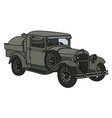 Vintage military tank truck vector image vector image