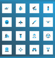 warfare icons colored set with radiation panzer vector image
