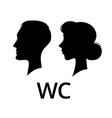 wc toilet sign male and female face profile vector image vector image