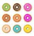 donut cake set isolated on whitt background vector image