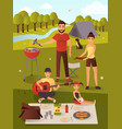 family picnic in flat style vector image