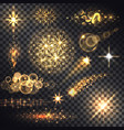 set glows bright star light fireworks vector image
