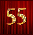3d number fifty five in gold vector image