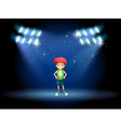A stage with a young boy vector image vector image