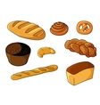 Assorted fresh cartoon bakery set vector image vector image