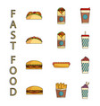 ast food icons set vector image vector image