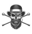 bearded and mustached gentleman skull vector image vector image