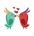 blue and red bird kissing sticker on a white vector image vector image